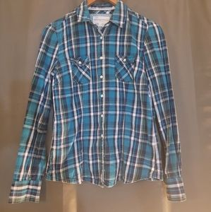 Aeropastle Blue and Green Plaid Fitted shirt